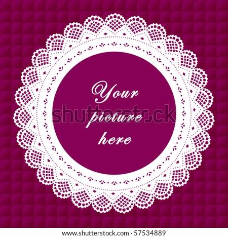 Vintage Lace Frame, purple quilted background, round doily border with copy space to customize with pictures or text for albums, scrapbooks, holidays, do it yourself arts, crafts and hobbies.    - stock photo