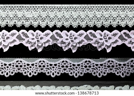 Vintage lace line, ornamental flowers (real lace)