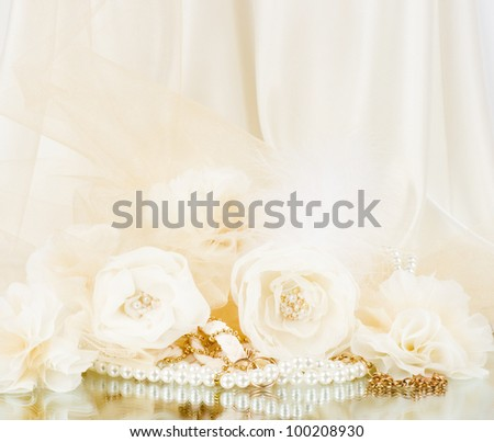 Vintage lace with flowers and beads on white background - stock photo