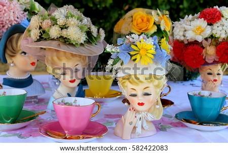 Vintage Lady Head Vases Floral Hats Stock Photo Edit Now 582422083