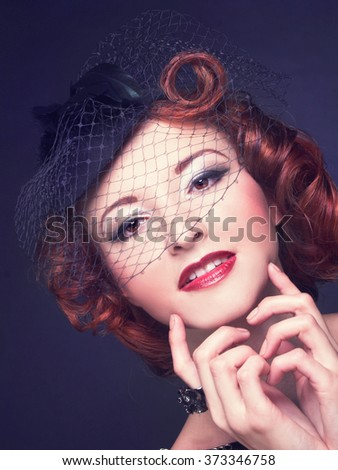 Vintage lady. Portrait of young woman in retro image. - stock photo