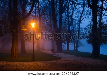 Vintage lamp in the city park during dawn