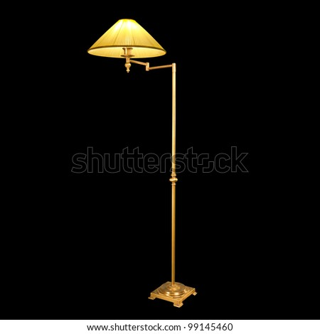 vintage lamp isolated on black with clipping path - stock photo