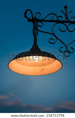 Vintage lamp post at dark night with clear sky