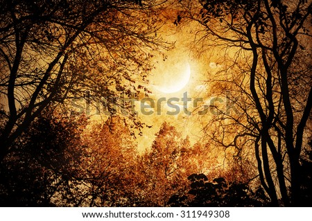 Vintage landscape in Gothic style - stock photo