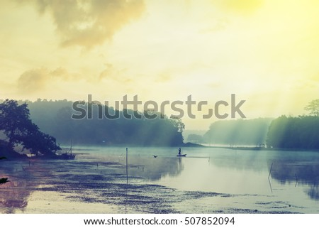 Vintage landscape nature and river background, River with fog in morning light
