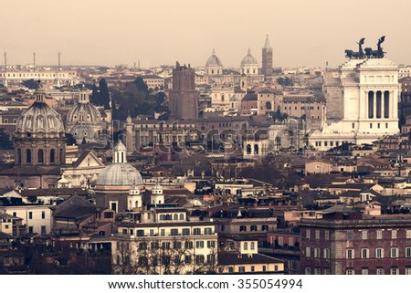 vintage landscape of Roma, Italy - stock photo