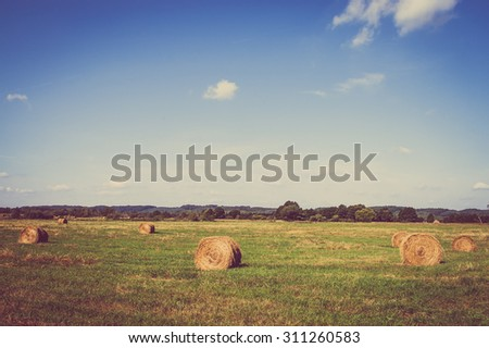 Vintage landscape showing straw bales on stubble field. Agricultural or rural landscape in summer photographed in Poland.