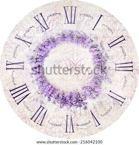 Vintage lavender clock illustration isolated in circle. - stock photo