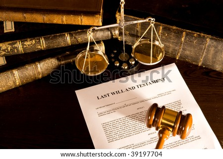 vintage lawyer concept old book, scale, gavel and will - stock photo
