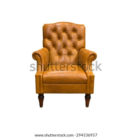 vintage leather armchair isolated on white