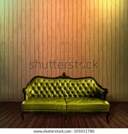 Vintage leather armchair, sofa with wood wall background - stock photo