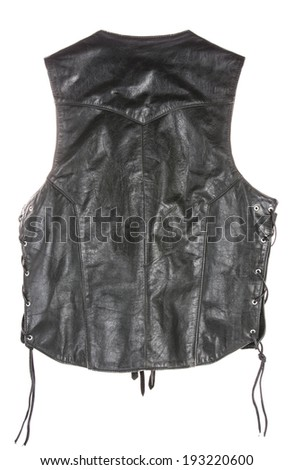 Vintage Leather biker jacket vest custom made from back isolated on white - stock photo