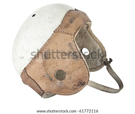 Vintage Leather Football Helmet isolated on white - stock photo