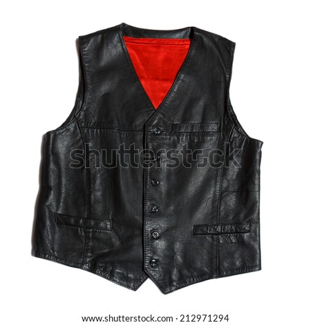 vintage leather vest on the white background - stock photo