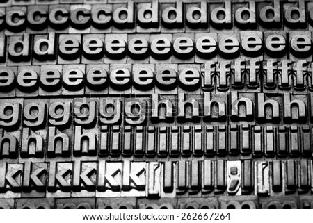 vintage letterpress alphabet and number background