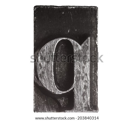 Vintage Letterpress typeset close up macro of the lower case letter q - stock photo