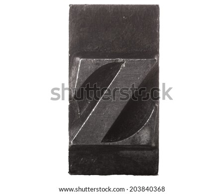 Vintage Letterpress typeset close up macro of the lower case letter z - stock photo
