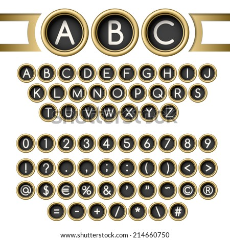 Vintage letters set. Golden typewriter buttons alphabet - stock photo