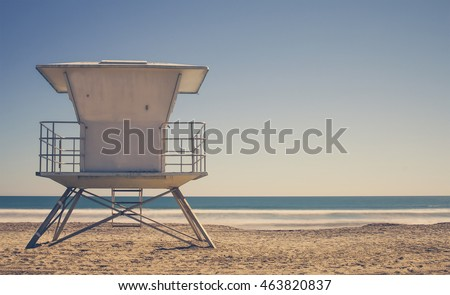 Vintage Life Guard Station - California beach with life guard tower