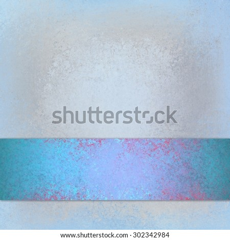 vintage light blue background with distressed sky blue ribbon with red cracks, blank copyspace for title text and images, blank sign - stock photo