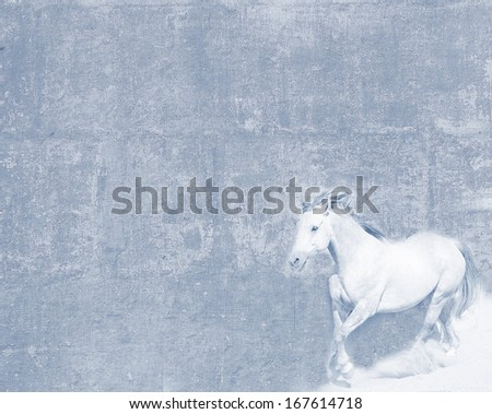 Vintage light blue-toned textured postcard with a white horse  - stock photo