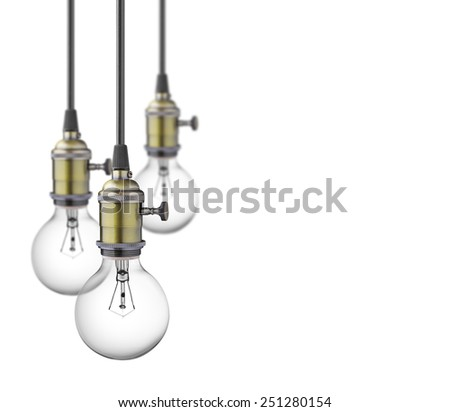 Vintage light bulbs isolated on white background - stock photo