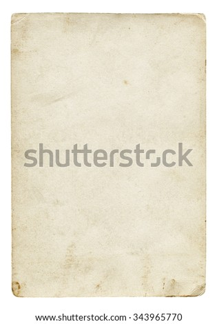 Vintage light paper blank with old spots isolated on white background.