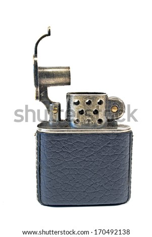 Vintage lighter isolated on white - stock photo