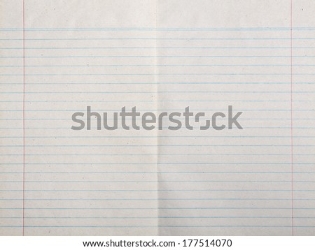 Vintage lined paper or notebook paper texture with left and right margin - stock photo