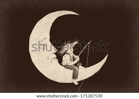Vintage little boy fishing from a paper moon - stock photo