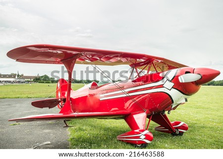 Vintage little plane: A Pitts S-2B Special. The Pitts biplanes dominated world aerobatic competition in the 1960s and 1970s. - stock photo