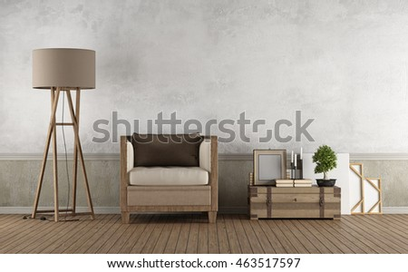 Vintage living room with wooden armchair and decor objects on floor- 3d Rendering