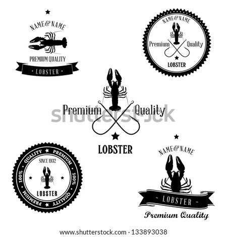 Vintage Lobster Badge set - stock photo