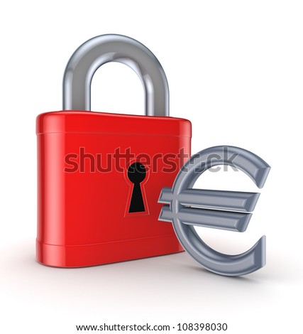 Vintage lock and euro sign.Isolated on white background.3d rendered.