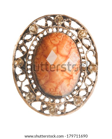 vintage locket with amber isolated on white - stock photo