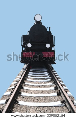 vintage locomotive on a blue background - stock photo