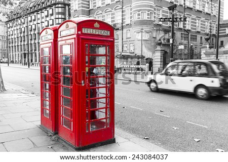 Vintage London telephone booth