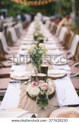 Vintage long table wedding decoration stock photo download now vintage long table wedding decoration junglespirit Gallery