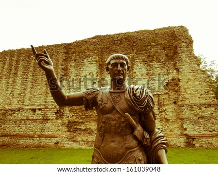 Vintage look Ancient Roman monument of the Emperor Trajan London UK - stock photo