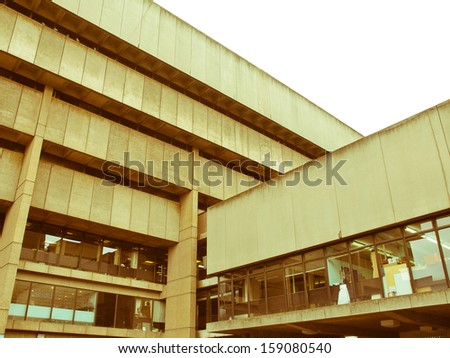 Vintage look Birmingham Central Library, iconic brutalist concrete building, UK - stock photo