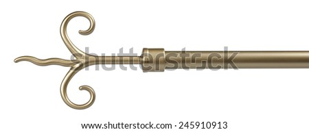 Vintage look metal curtain rod ending isolated on white with clipping path.