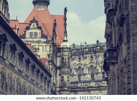 Vintage look of old town of Dresden city, Germany
