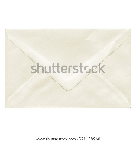 Vintage looking A letter envelope for mail postage shipping - isolated over white background