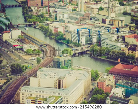 Vintage looking Aeria view of the city of Berlin in Germany