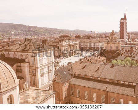 Vintage looking Aerial view of Piazza Castello central baroque square in Turin Italy