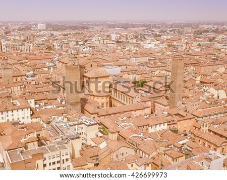 Vintage looking Aerial view of the city of Bologna in Emilia Romagna Italy