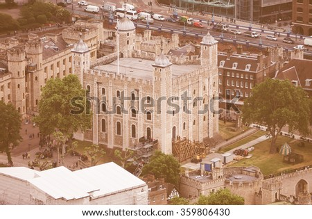Vintage looking Aerial view of the Tower of London, UK - stock photo