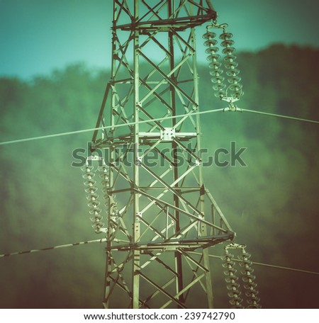 Vintage looking An electric power high voltage transmission line