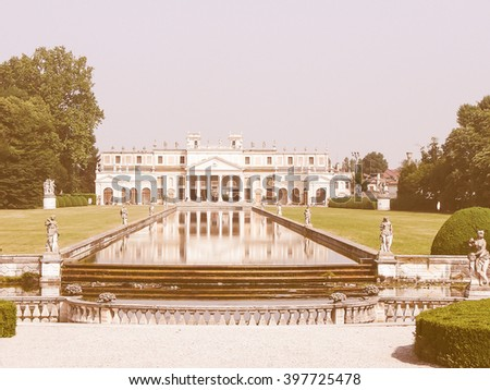 Vintage looking Ancient villa Pisani garden in Padua (Padova) in Veneto, Northern Italy